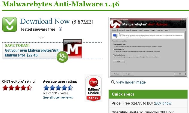 Malwarebytes Anti-Malware 1.46